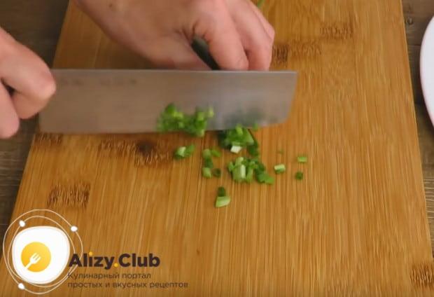 Нарезаем мелко свежий зеленый лук.