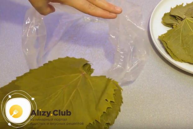 остывшие листья выравниваем и складываем в полиэтиленовые пакеты.