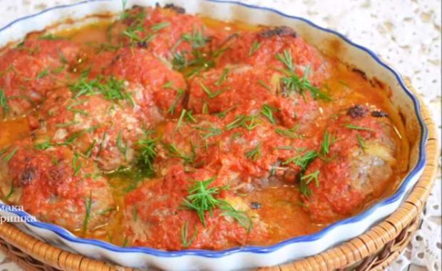 Рецепт приготовления гречаников с фаршем в томатном соусе