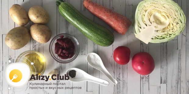 рагу с картошкой и капустой и мясом