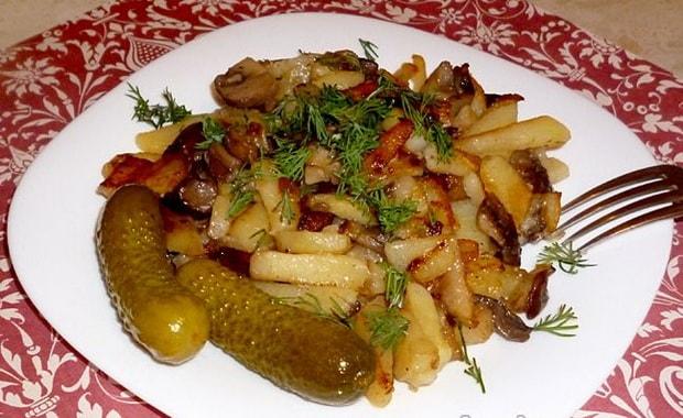 Рецепт жареной картошки с салом