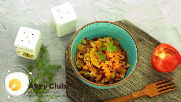 Вкусное рагу из кабачков приготовленное в мультиварке готово.