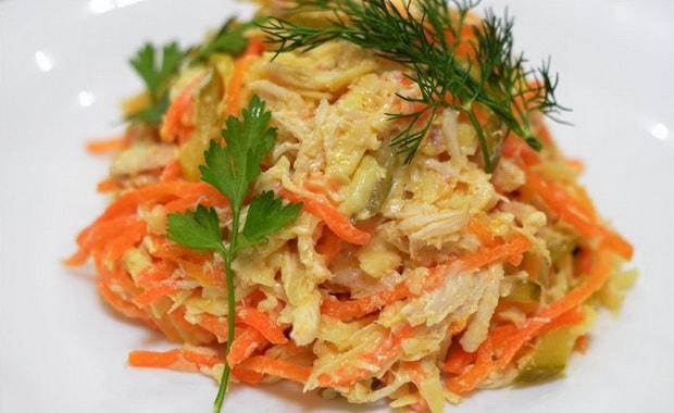 Рецепт приготовления салата Лисичка с корейской морковкой