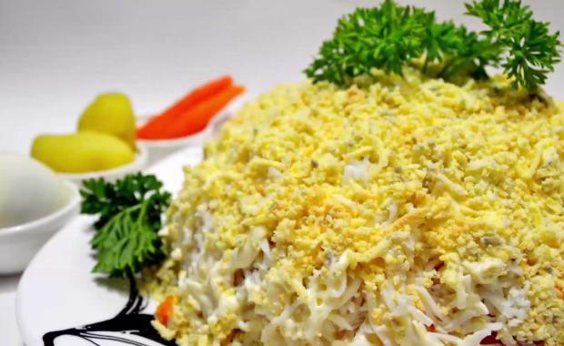 Рецепт приготовления вкусного салата Мимоза с сыром