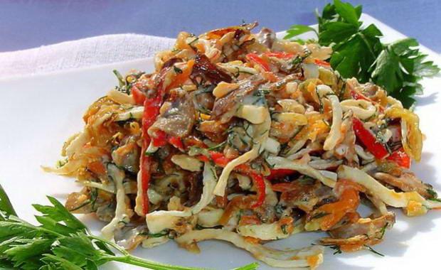 Рецепт салата с жареными шампиньонами с фото