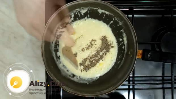 По простому рецепту, для приготовления соуса для макарон, добавьте специи
