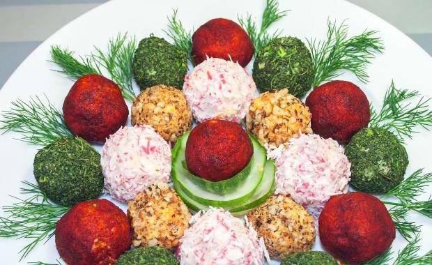 Пошаговый рецепт приготовления закуски Елочные шары с фото