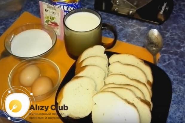 Чтобы приготовить гренки по такому простому рецепту, нужны только батон, молоко и яйцо.