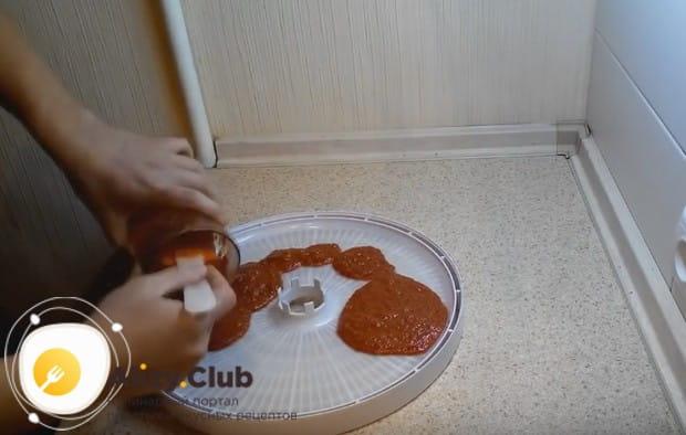 Выливаем получившееся пюре на смазанный растительным маслом силиконовый коврик сушилки.