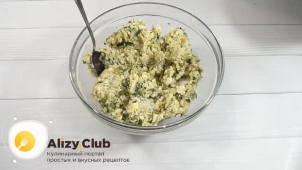 Для приготовления хычин с сыром и зеленью, приготовьте начинку