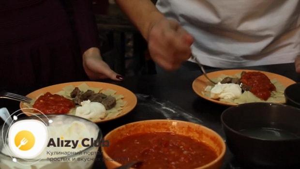 Для приготовления дагестанского хинкала, по рецепту, подготовьте все ингредиенты
