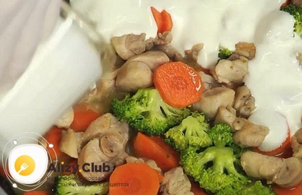 Для приготовления фрикасе из кролика с грибами, смешайте ингредиенты