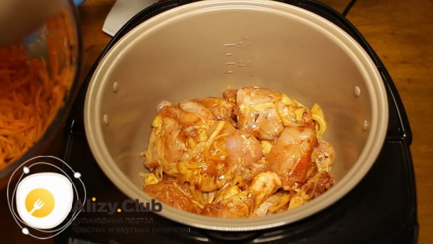 Для приготовления гречки с курицей в мультиварке, по рецепту, подготовьте ингредиенты