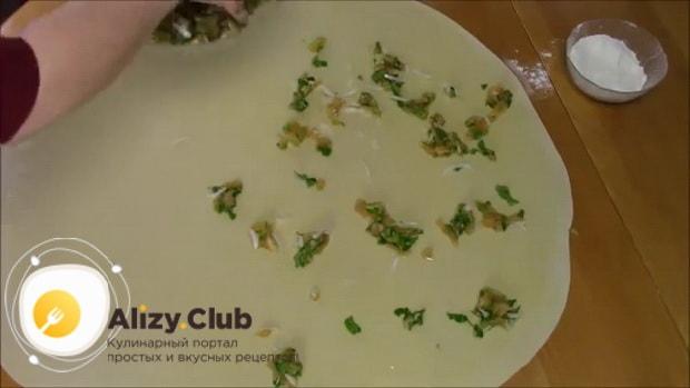 Для приготовления хинкала дагестанского с курицей. следуя рецепту с фото выложите начинку на тесто