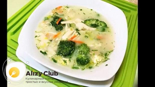 Вкусный суп пюре из брокколи с курицей готов