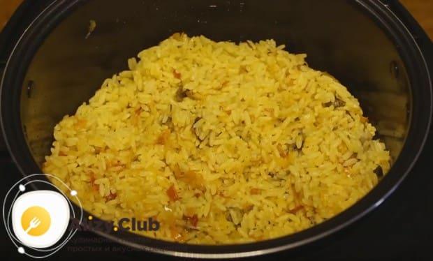 Вот такой аппетитный постный рис с грибами у нас получился.