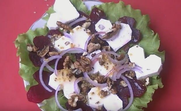 Пошаговый рецепт приготовления салата из свеклы и козьего сыра