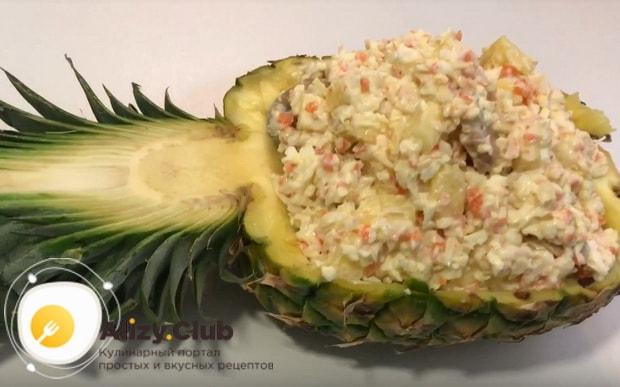Пошаговый рецепт приготовления крабового салата с ананасом