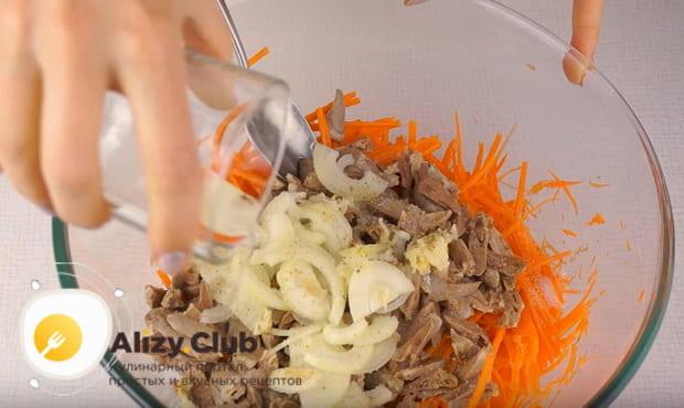 Готовим салат с куриными сердечками и корейской морковью по детальной фото инструкции