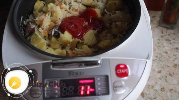 Видеорецепт куриных сердечек с капустой и картошкой