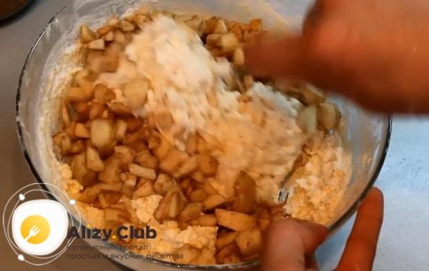 по рецепту для приготовления сырников из творога, смешайте все ингредиенты