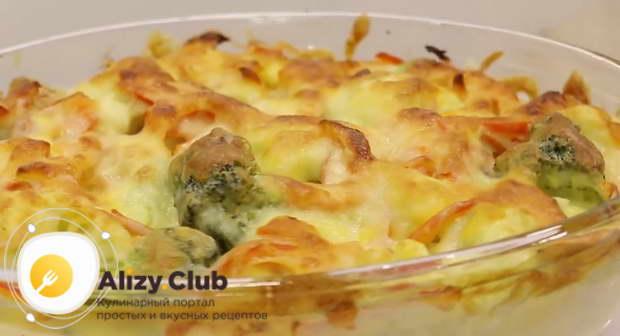 Видео рецепта запеканки из брокколи и цветной капусты