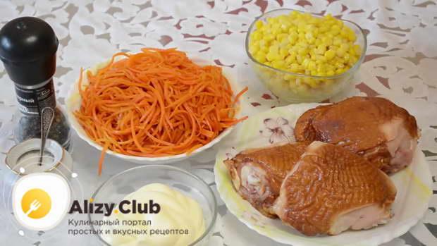 как выбрать продукты для салата с курицей и корейской морковкой