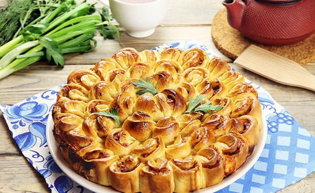 Как приготовить пирог Хризантема по пошаговому рецепту с фото