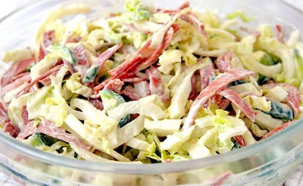 Пошаговый рецепт приготовления салата из пекинской капусты с ветчиной