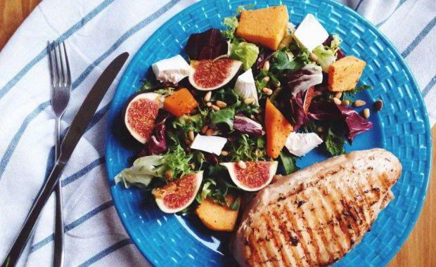 Пошаговый рецепт приготовления салата с запеченой тыквой, инжиром и рикоттой
