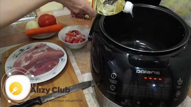 Рецепт тушеной свинины с овощами в мультиварке