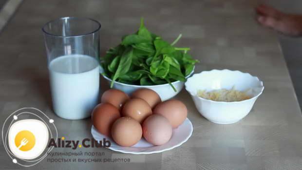 выбираем продукты для пышного омлета со шпинатом